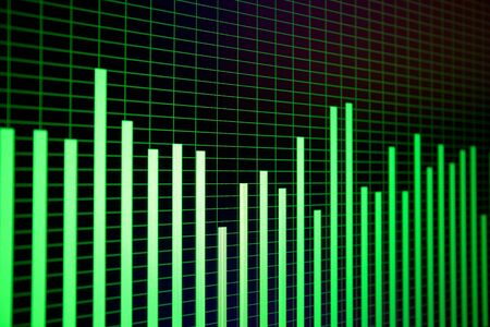 Waveforms and spectograms on computer screen in details. Colorful geomteric game and modern digital technologies concept