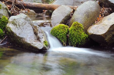 Crimea mountain streams and waterfalls, long time exposure