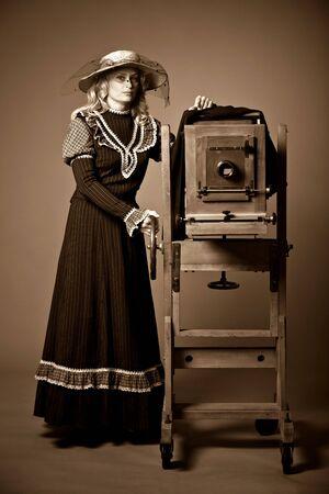 Vintage retro style photo of a young woman Zdjęcie Seryjne