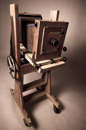 Close-up wooden vintage daguerreotype camera