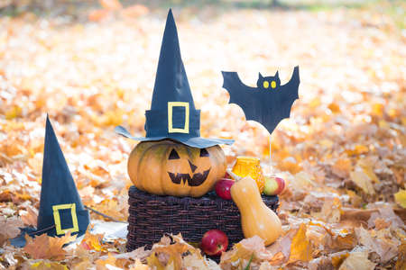 Jack lantern pumpkin with black paper hats apples and paper bats stand on a basket on a sunny background of yellowed foliage. Halloween celebration concept 免版税图像 - 151146360