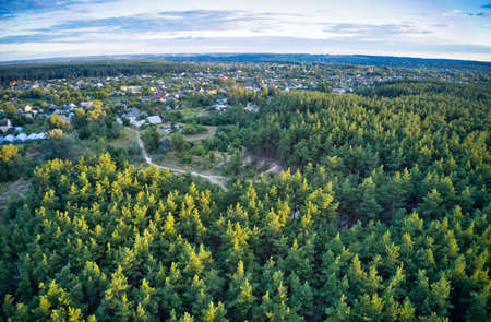 A beautiful large village around which is a large green spruce forest Standard-Bild