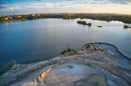 The station for the extraction and cleaning of sand stands about and in the lake Reklamní fotografie