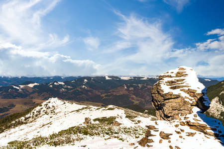 Landscapes of the Carpathian Mountains, covered with large stone ledges in Ukraine, near the village of Dzembronya