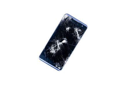Modern LCD touch screen display mobile smartphone is cracked and broken after drop. Broken phone glass close up view, isolated on white background for design