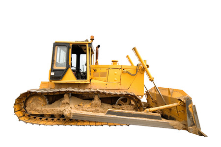 The heavy dirty building bulldozer of yellow color on a white background, isolated. Stock Photo