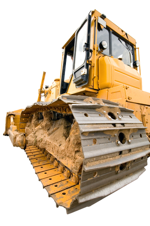 The heavy dirty building bulldozer of yellow color on a white background, back view, isolated Stock Photo