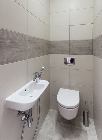 Interior of a new modern restroom