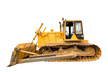 The heavy dirty building bulldozer of yellow color on a white background, isolated