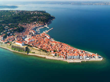 Old city Piran in Slovenia, aerial view at sunrise. 스톡 콘텐츠