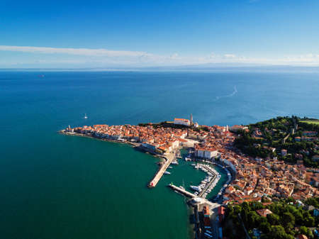 Old city Piran in Slovenia, bird's eye view in the morning. Aerial photo.