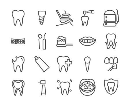 치과 의사 아이콘 선 스타일에서 만든 집합입니다. 건강한 치아, 치과 임플란트, 구강 세정기, 미소, 베니어, 구강 등의 아이콘, 48X48 픽셀 완벽한 편집 가능한 주식 벡터 일러스트를 포함합니다. 스톡 콘텐츠 - 99565199