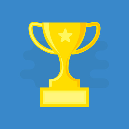 Trophy cup, award symbol. Flat style. Stock vector illustration for Your design. Ilustrace