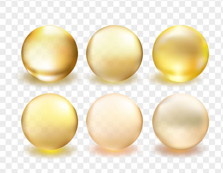 Golden glass ball collection. Serum droplet set, gold oil bubble, vitamin set isolated on transparent background. Realistic style. Vector illustration.