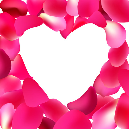 Heart shape frame made with pink rose petals. Greeting card's template for Valentine's day, Mother's day. Vector design.