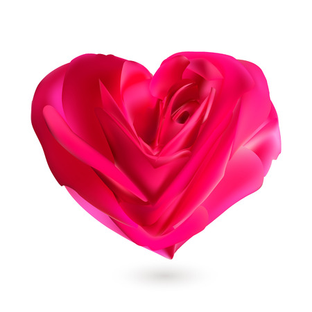 Deep pink rose in shape of heart. Vector greeting  Love symbol card template for Valentines Day, Mothers Day.