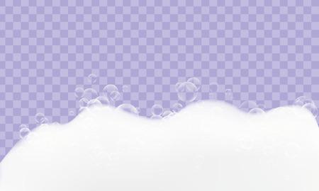Espuma de textura realista con burbujas idólatras sobre fondo transparente.