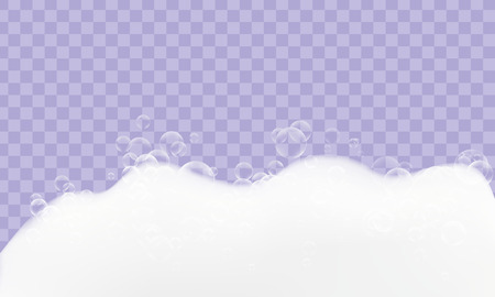 Foam realistic texture with bubbles idolated on transparent background. 矢量图像