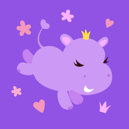 Cute smiling hippo character with crown isolated on awesome background with hearts , crown and stars. Simple clean cartoon vector design.