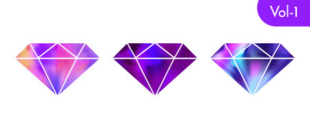 Modern holographic violet diamond set isolated on white background. Vector bright and shiny crystal symbol design. Ilustrace