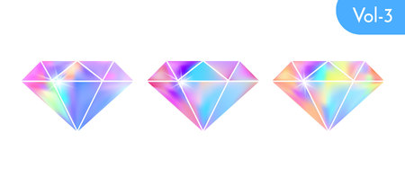 Modern holographic diamond set isolated on white background. Vector bright and shiny crystal symbol design.