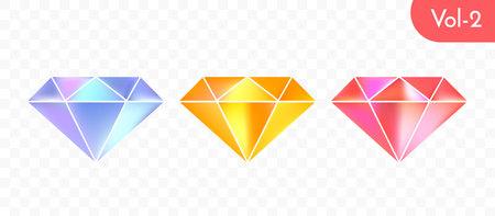 Ensemble de diamants multicolores modernes isolé sur fond transparent. Conception de symbole de cristal lumineux et brillant de vecteur.