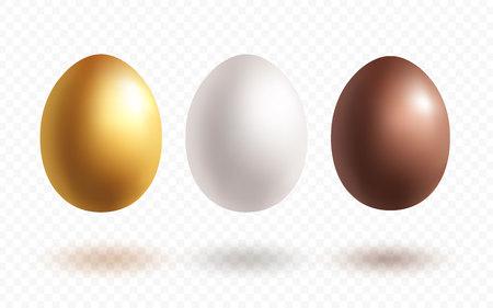 Oeufs avec des ombres faites dans un style réaliste isolés sur fond transparent d'affilée. Oeuf de Pâques en or, blanc et chocolat. Illustration vectorielle.