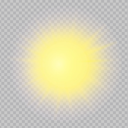 Yellow realistic sun with nice rays, light, flare and shine isolated on transparent background. Vector glowing effect design.