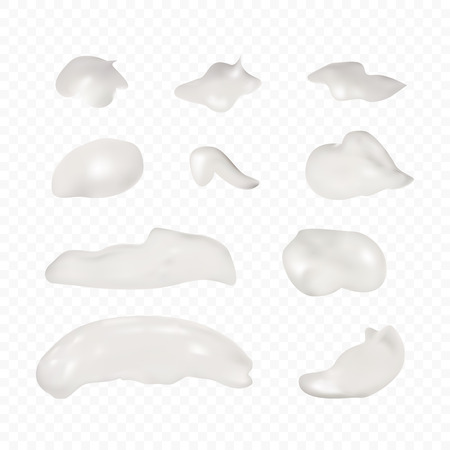 Cosmetic cream smears, realistic creamy or lotion texture, gel blob set. Vector illustration for your design.