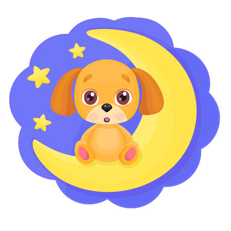 Cute cartoon little dog sitting on the moon with bright stars background. Kid print, good night or greeting card template.