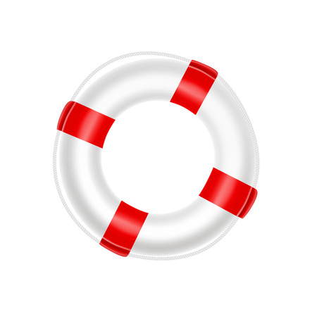 Life buoy  template with red stripes, safety ring, survival water float. Help, SOS symbol.  Fine quality. Vector design element. Vettoriali