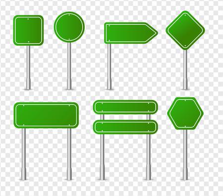 Collezione di icone di segnale stradale verde, mockup di cartello autostradale, set di puntatori in metallo isolato su sfondo trasparente. Qualità fine. Elementi di disegno vettoriale. Vettoriali