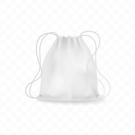 Realistic white backpack mockup, schoolbag, shoes knapsack,  templates. Premium quality illustration for your design.