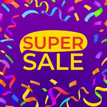 Super sale banner with bright confetti. High quality vector design template.