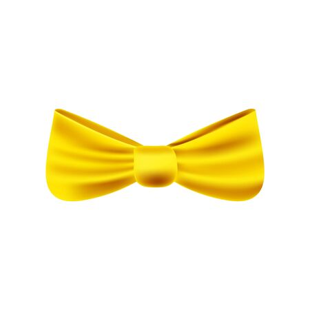 Satin golden bow tie, bright gold yellow ribbon isolated on transparent background. Vector illustration for your design.