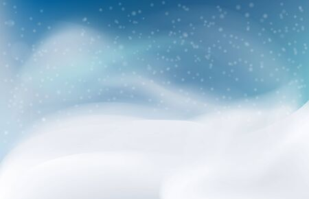 Snow landscape in the evening. Snow drift, mountain, Vector illustration.