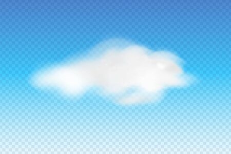 Realistic fluffy white cloud on transparent background, cloudy weather icon. Vector design template. Иллюстрация