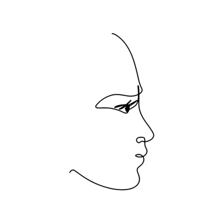 Continuous line art, hand drawn face. Unisex portrait, beauty symbol. Vector illustration for design slogan, t-shirts. 向量圖像