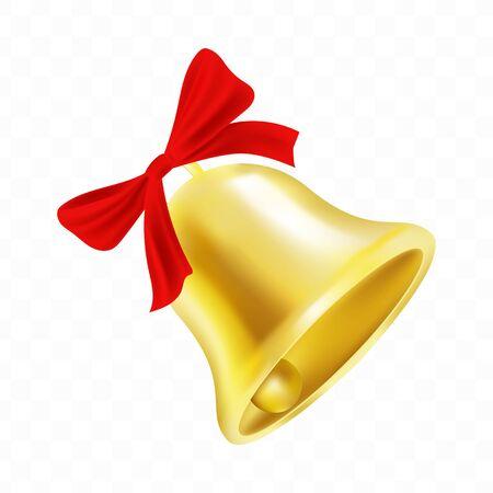 Antique golden Christams golden bell isolated on transparent background. Vector design element. Vecteurs