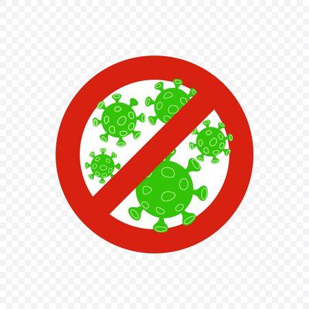 Anti coronavirus sign. Stop corona red alert circle with virus. Vector illustration for Your design.
