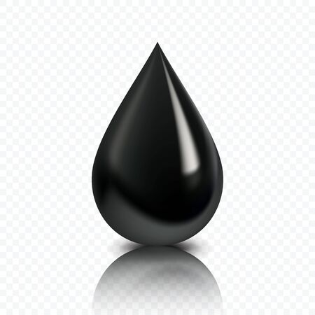 Black oil, petroleum drop. Glossy petrol fluid icon. High quality vector illustration. Ilustração