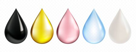 Realistic drop collection, including such items as petrol, olive oil, pink rose droplet, water and milk. High quality vector illustration for Your design.