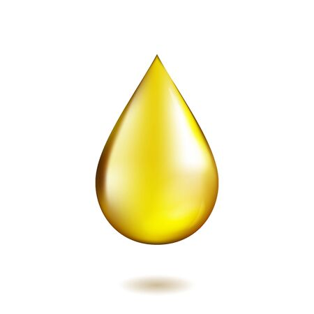 Realistic olive or sunflower drop isolated on white background. Collagen essence icon. High quality vector illustration. Vettoriali