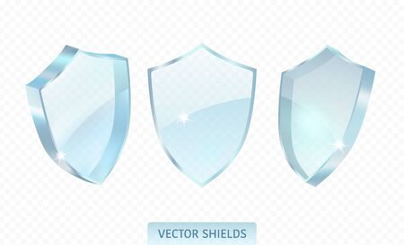 Realistic glossy guard shield isolated on transparent background. Premium vector illustration. Vectores