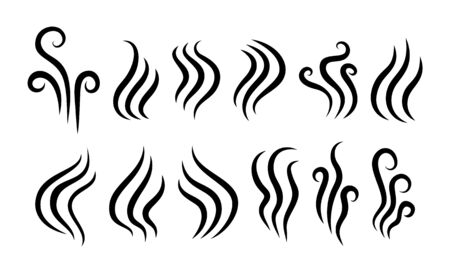 Aroma, cooking steam, vapour icon set. Odour, smelling, fragrance symbol. Premium vector illustration. Illustration