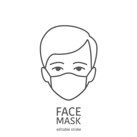 Man avatar wearing facial protective mask. Anti coronavirus or disease concept. Editable icon. Premium design.