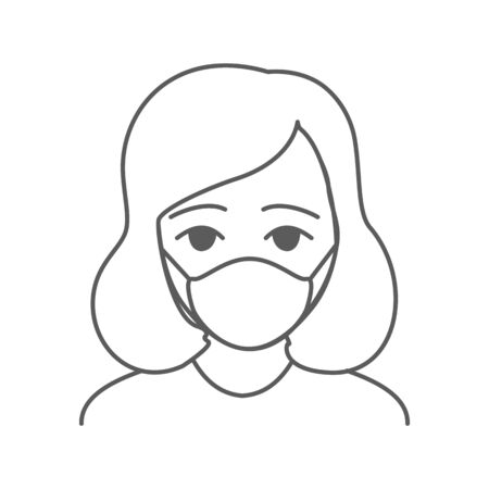 Woman wearing facial protective mask. Anti coronavirus or disease concept. Editable icon. Premium design.