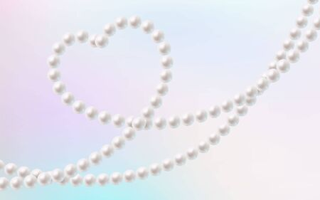 Beautiful pearl necklace in a shape of heart. Luxurious and elegant wallpaper. Premium vector.