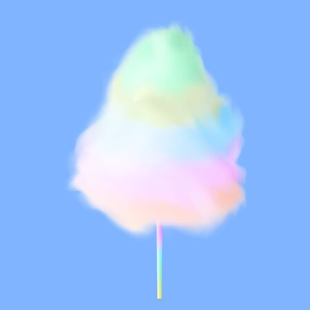 Cotton candy. Rainbow sugar clouds. Realistic 3d  icon. Premium vector.