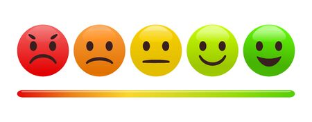 Emotion feedback scale. Includes such emoticon as angry, sad, neutral, joy and happy expression, arranged into a horizontal row. Customer's service and evaluation review sign. Finest quality.